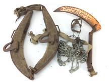 20th C. Rustic Horse Collar, Chains, Trap
