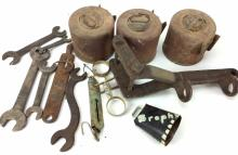 20th C. Tools, Parts Wrenches, Canisters, & Scale
