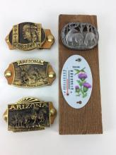 4pc. Western Cowboy Belt Buckles & Thermometer