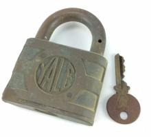 20th C. Y&T Yale and Towne Brass Padlock W/ Key