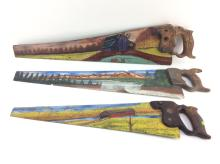3Pc. Painted Handsaw Art
