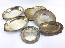 10+ Pc. Silverplate Trays & Bowls