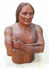 MJ Signed Carved Wood Native American Sculpture