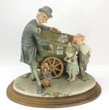 Capodimonte Organ Grinder w/ Dog Sculpture