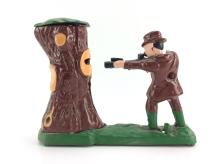 20th C. Iron Hunter & Bear In Tree Coin Bank