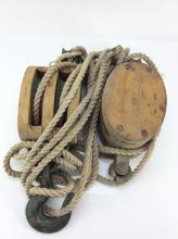 20th C. Industrial Wood & Metal Pulley System