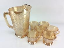 *Champagne Colored Glass Pitcher & Cups