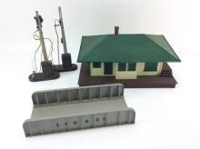 10pc. Vtg. Model Train Buildings & Yard Signs