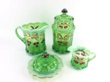 6Pc. Mosser Green Opalescent Glass
