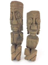 2Pc. Wood Carved Tribal Figures