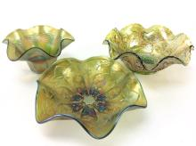 3Pc. 20th C. Carnival Glass Bowls