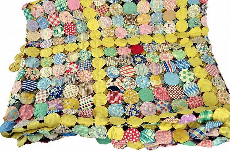 Antique YO-YO quilt, hand sewn, approx. 84