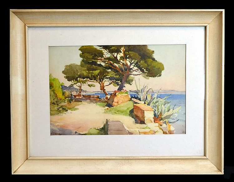 Watercolor painting by Marc, Park scene in Europe.