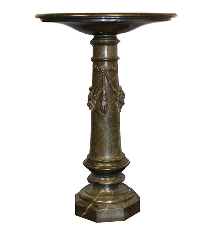 Antique green marble pedestal.
