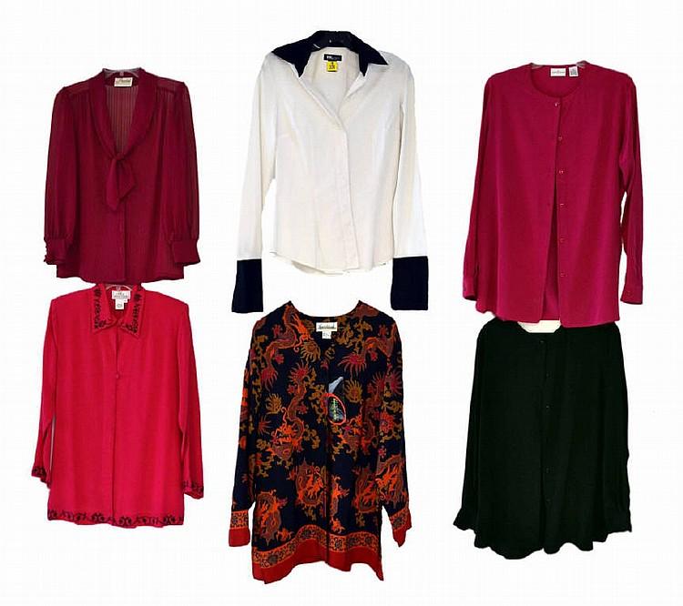 6 ladies shirts, sz 4,6, small,