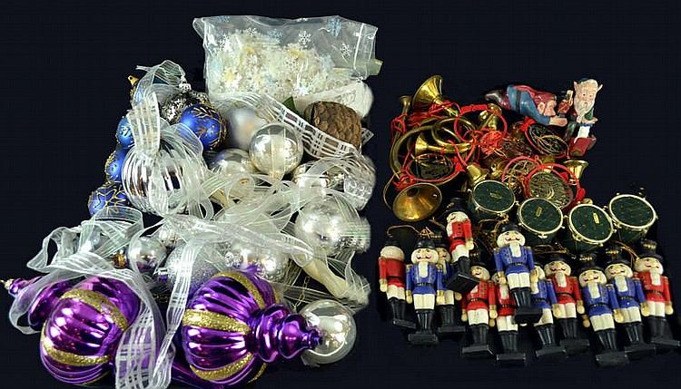 Used Christmas ornaments, toy soldiers, balls, etc
