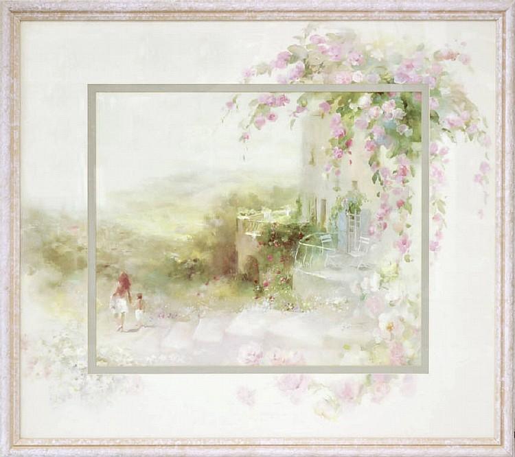 Framed floral Italian print.