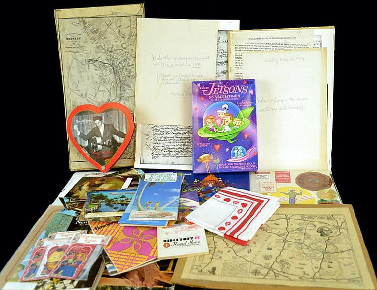 Ephemera lot, maps, valentines, Postcards.