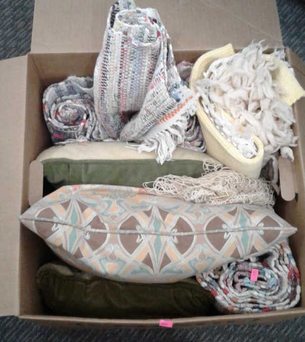 Assorted Throw Pillows and Woven Rugs Lot