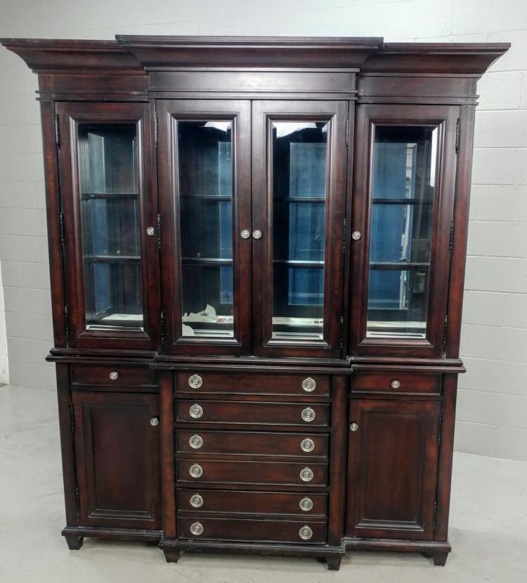 Lane Walnut Hutch Buffet Cabinet