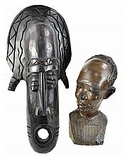 African Carved Wood Mask and Bust