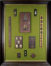 Vintage Display of Thai Amulets & Votive Tablets