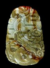 Green, Brown, Red Jade Carving / Pendant