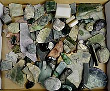 Jade Slab, Stone, Cabochon and Pendant Lot
