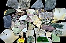 Multicolored Loose Uncut Jade Slab and Scrap Lot