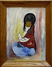 De Grazia Style Oil Painting, Native American Girl with Duck