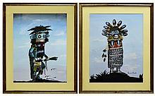 Gordon E Crook Native American Navajo Kachina Oil Painting PAIR