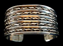 PAIR Native American Silver Cuff Bracelet Lot with Turquoise and Coral Mosaic Inlay