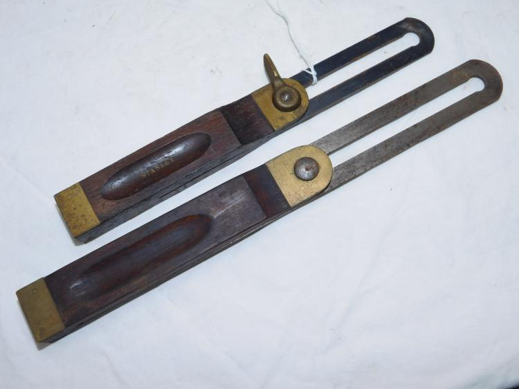 Lot Of 2 Vintage Stanley No 25 8 And 10 Inch T Square Bevel Gauge Carpentry Tools