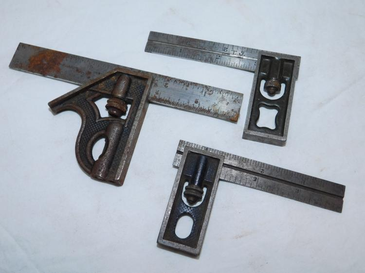 Lot Of 3 L.S.S. Starrett No 4 13 And Lufkin Rule Co Grad Combination Squares