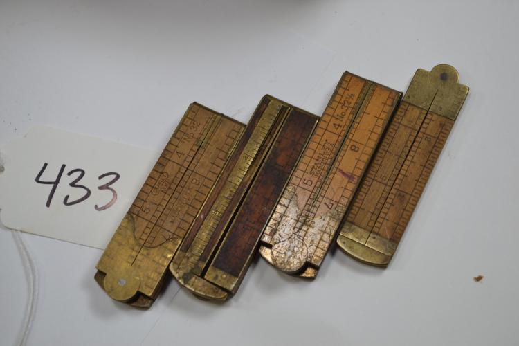 Lot Of 4 Vintage Brass And Wood Stanley No 32 1/2 36 Folding Rulers Including Sweetheart