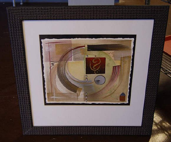 Framed Abstract Mixed Media Signed