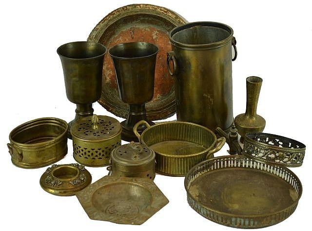 Lot of brass including hallmarked goblets.