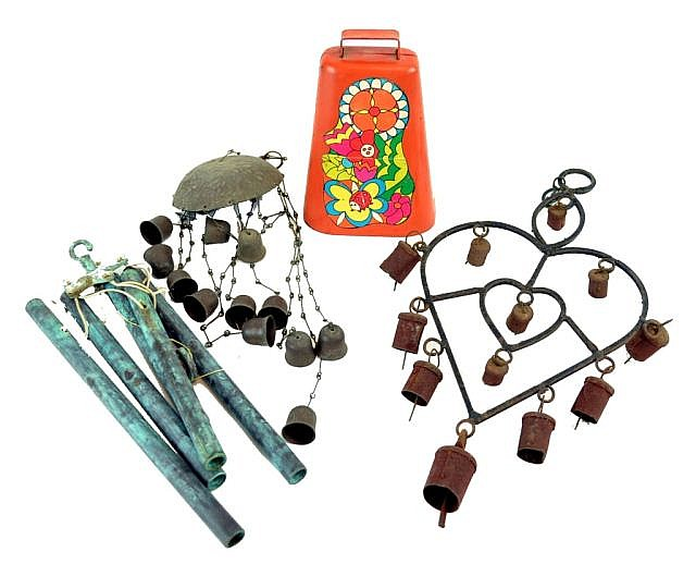 Decorative items, 3 wind chimes & painted cow bell