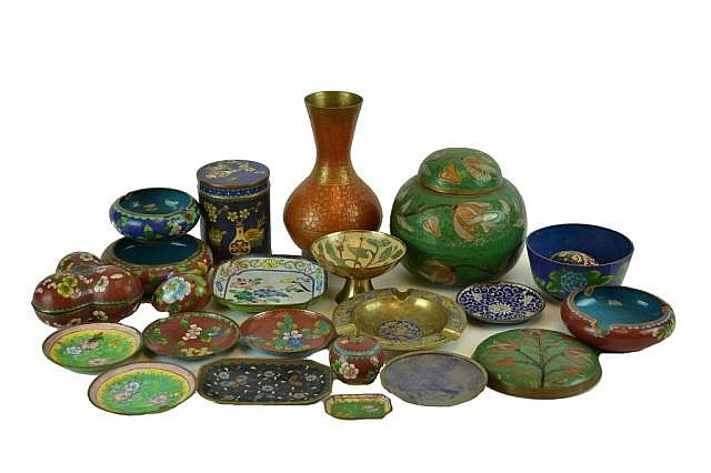Collection of enameled items, vase, dishes, jars.
