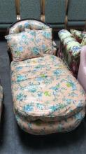 Vtg. Carved Wood & Floral Upholstered Settee