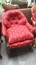 Custom Upholstered Tufted Claw Foot Lounge Chair