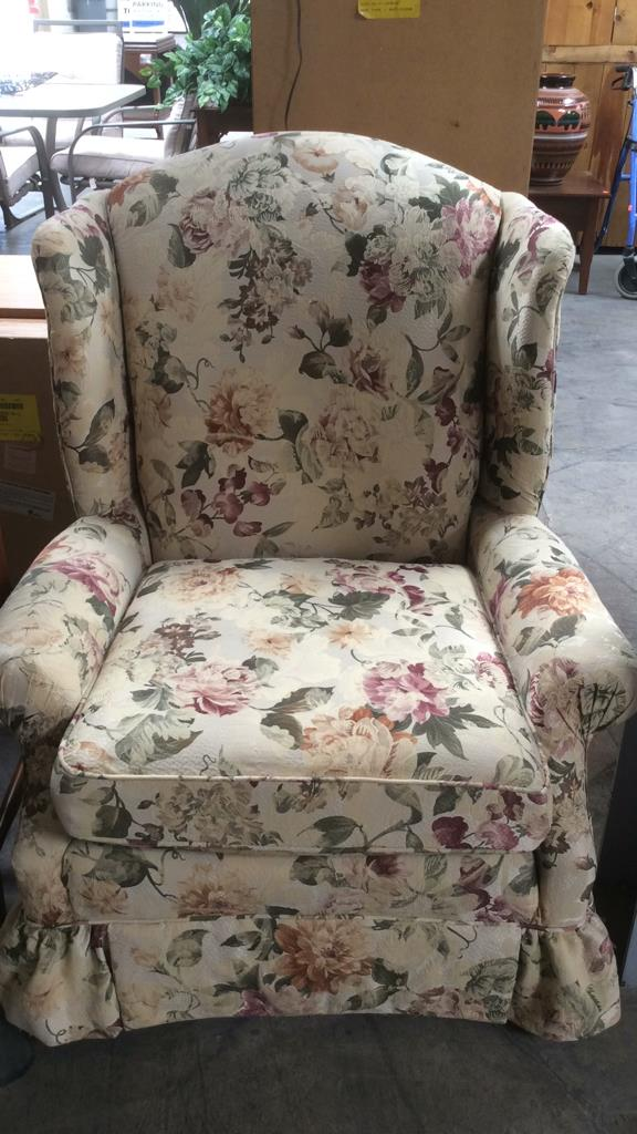 Floral Winged Back Lounge Chair