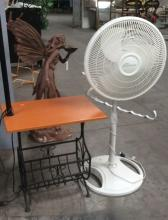 2pc. Lighted Magazine Holder Table & Fan