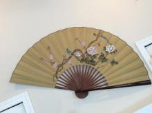 Asian Floral Bird Painted Fan