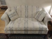 Traditional Rolled Arm Striped Fabric Loveseat