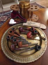 12pc. Vtg. Estate Pipe Collection w/ Stand