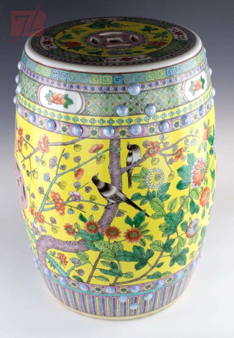 Yellow Chinese Porcelain Garden Stool