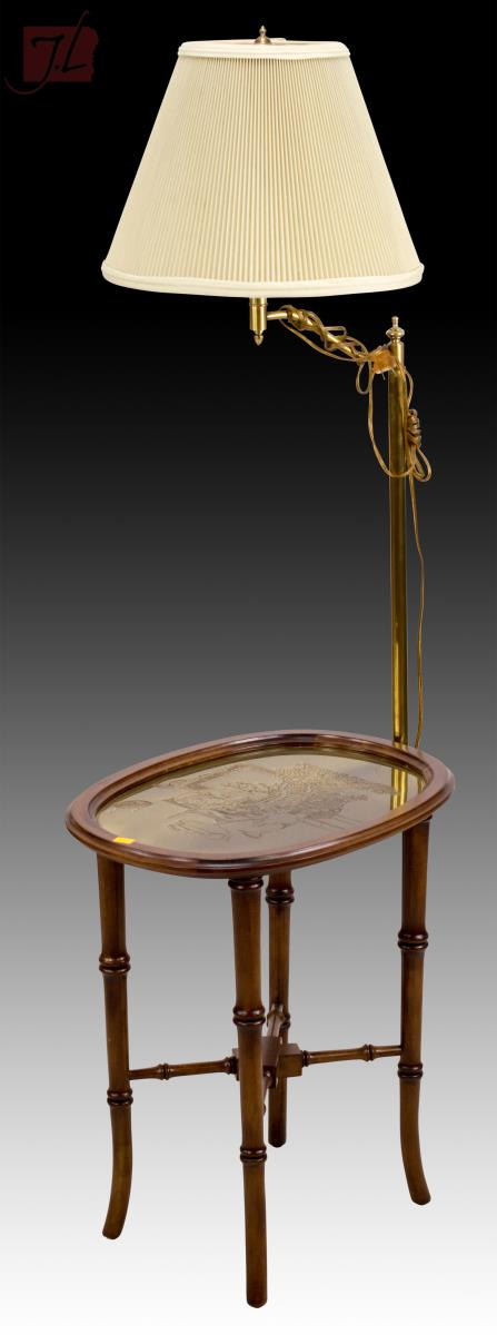lot 1043 brass top table w attached floor lamp. Black Bedroom Furniture Sets. Home Design Ideas