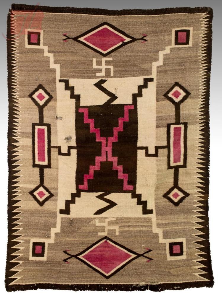 1920s Navajo Rug W Storm Amp Whirling Log Pattern