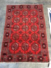 Bokahara Hand Knotted Wool Rug, Red Bkgd
